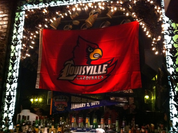 UofL flag at the bar
