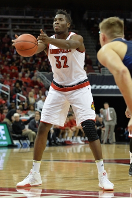 Nov 13, 2015; Louisville, KY, USA; Louisville Cardinals center Chinanu Onuaku (32) shoots a free-throw against the Samford Bulldogs during the first half at KFC Yum! Center. Louisville defeated Samford 86-45. Mandatory Credit: Jamie Rhodes-USA TODAY Sports