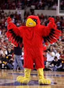 INDIANAPOLIS - MARCH 29: The mascot for the Louisville Cardinals performs against the Michigan State Spartans during the fourth round of the NCAA Division I Men's Basketball Tournament at the Lucas Oil Stadium on March 29, 2009 in Indianapolis, Indiana. (Photo by Andy Lyons/Getty Images)